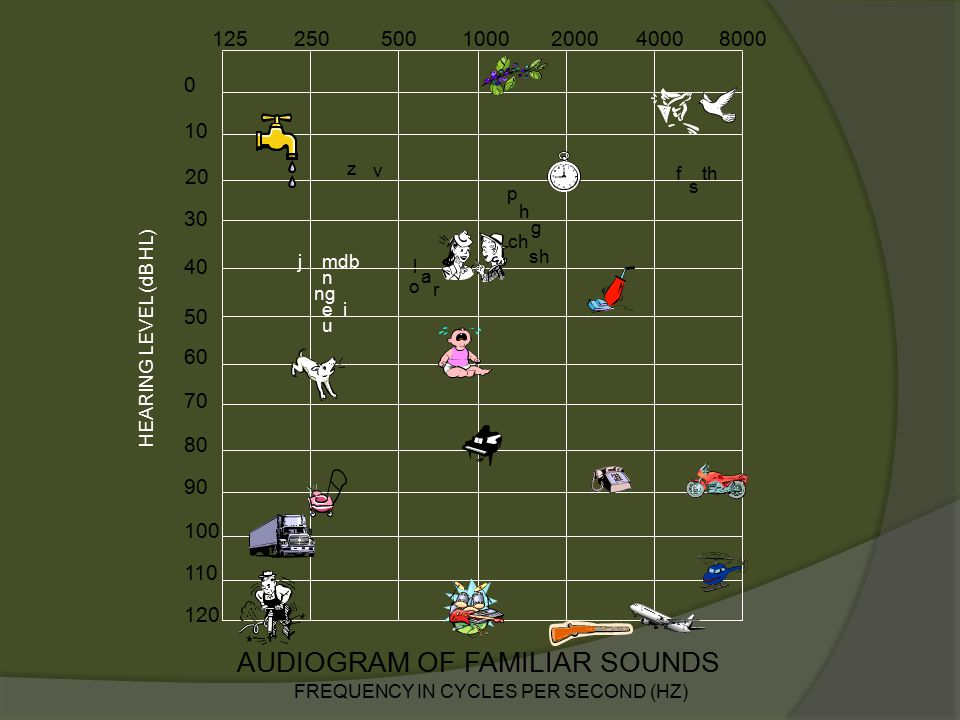 10 0 30 40 50 60 70 80 90 100 110 120 AUDIOGRAM OF FAMILIAR SOUNDS FREQUENCY IN CYCLES PER SECOND (HZ) 1252505001000200040008000 HEARING LEVEL (dB HL) 20