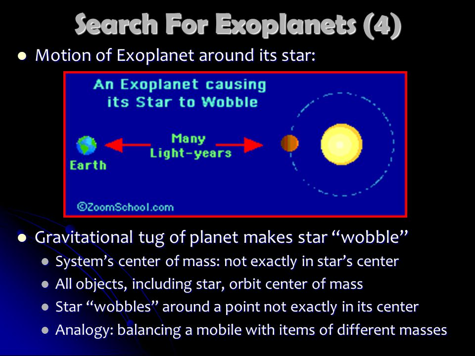 Search For Exoplanets (4) Motion of Exoplanet around its star: Motion of Exoplanet around its star: Gravitational tug of planet makes star wobble Gravitational tug of planet makes star wobble System's center of mass: not exactly in star's center System's center of mass: not exactly in star's center All objects, including star, orbit center of mass All objects, including star, orbit center of mass Star wobbles around a point not exactly in its center Star wobbles around a point not exactly in its center Analogy: balancing a mobile with items of different masses Analogy: balancing a mobile with items of different masses