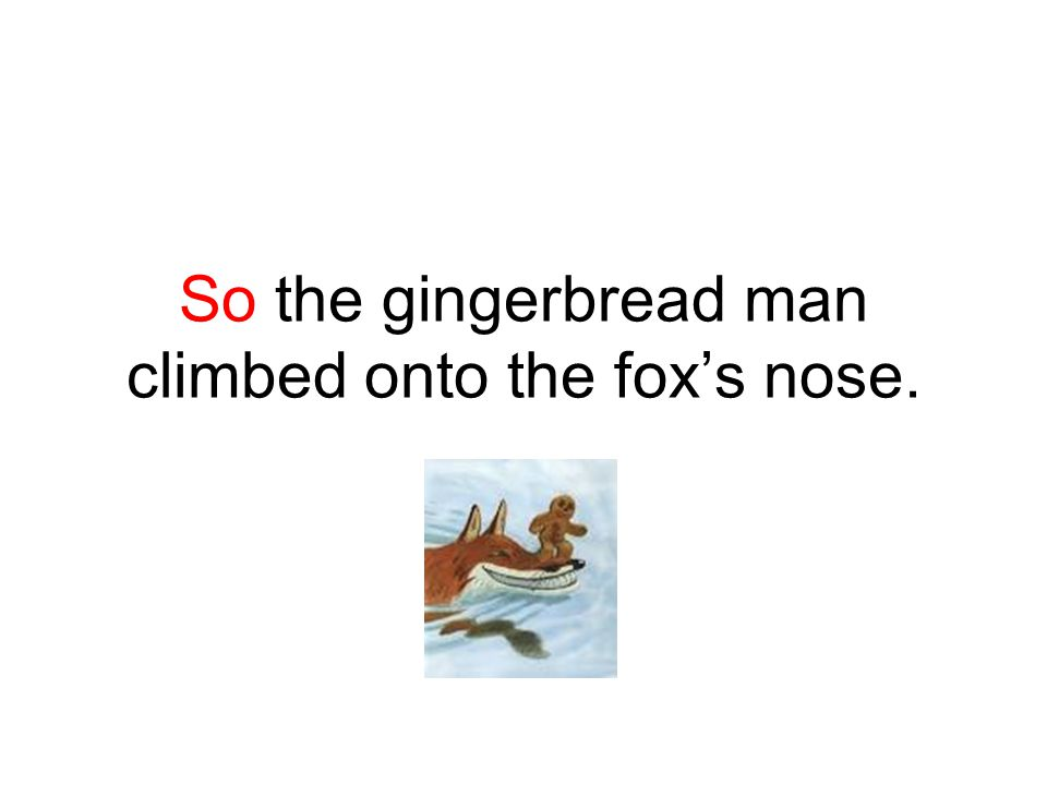 So the gingerbread man climbed onto the fox's nose.
