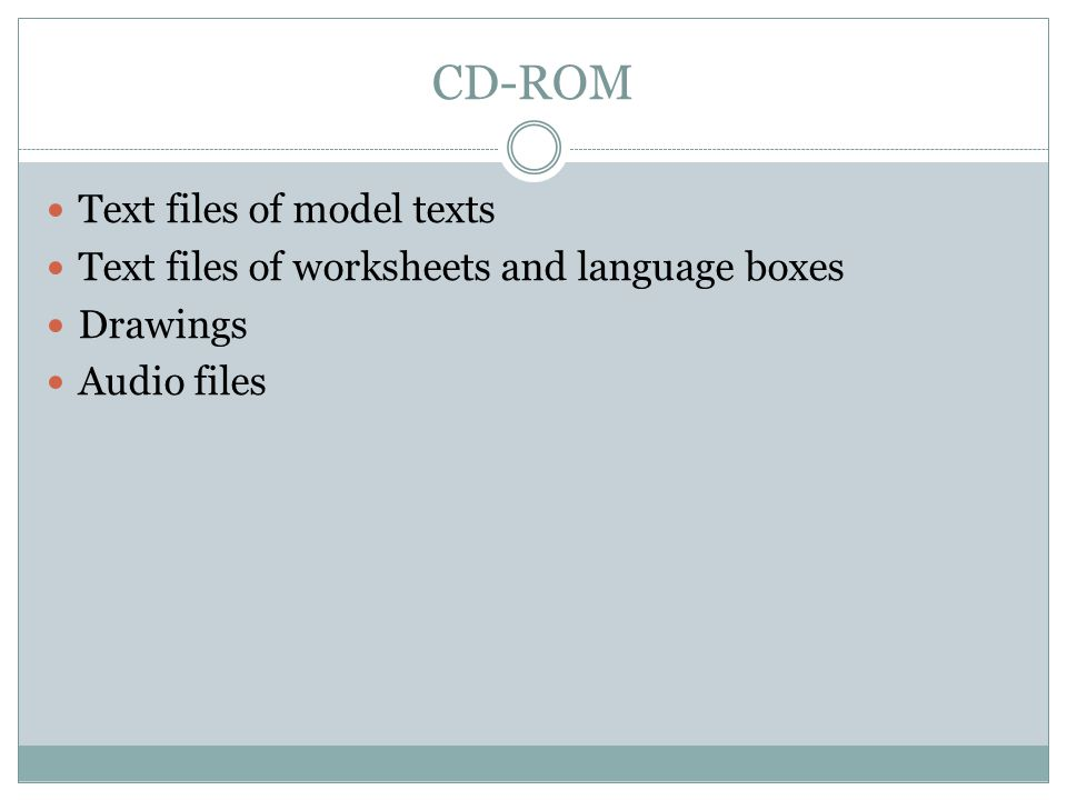 CD-ROM Text files of model texts Text files of worksheets and language boxes Drawings Audio files