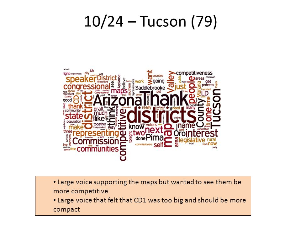 10/24 – Tucson (79) 21 Large voice supporting the maps but wanted to see them be more competitive Large voice that felt that CD1 was too big and should be more compact
