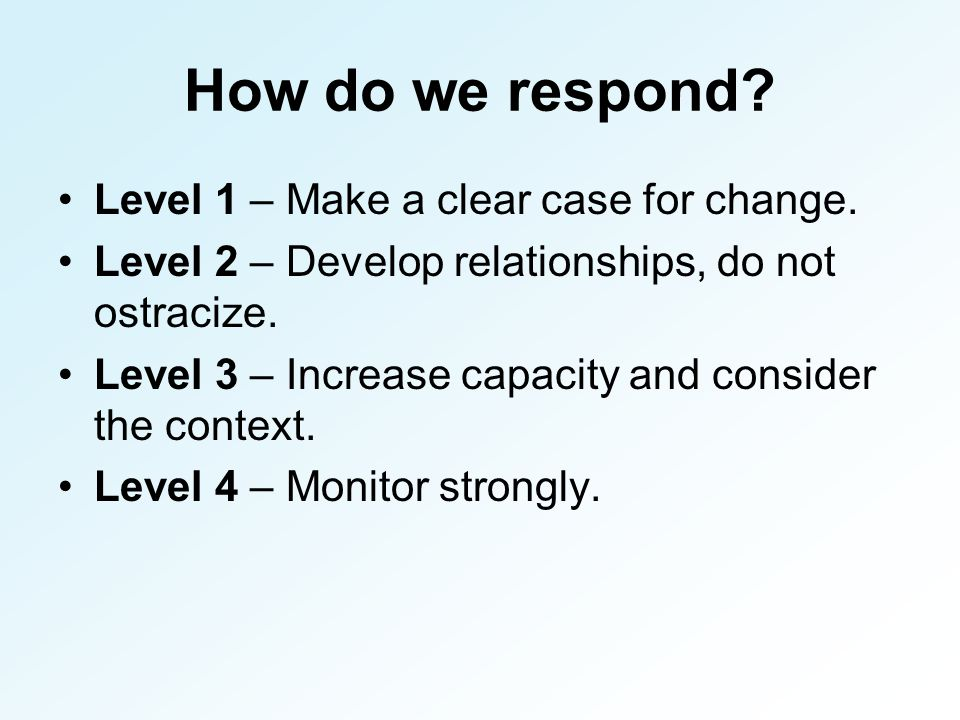 How do we respond. Level 1 – Make a clear case for change.