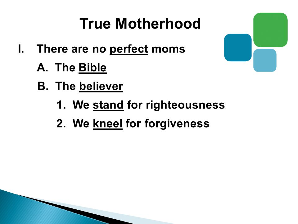 True Motherhood I.There are no perfect moms A. The Bible B.