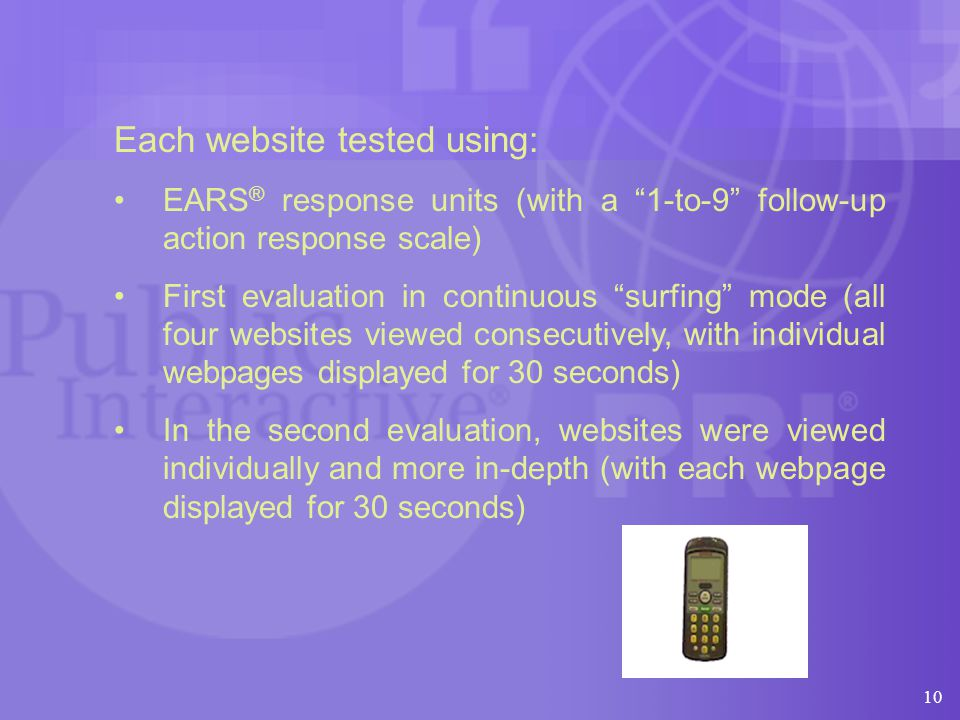 Each website tested using: EARS ® response units (with a 1-to-9 follow-up action response scale) First evaluation in continuous surfing mode (all four websites viewed consecutively, with individual webpages displayed for 30 seconds) In the second evaluation, websites were viewed individually and more in-depth (with each webpage displayed for 30 seconds) 10