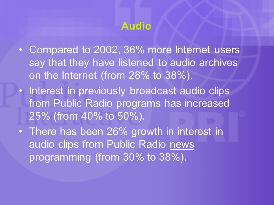 Audio Compared to 2002, 36% more Internet users say that they have listened to audio archives on the Internet (from 28% to 38%).