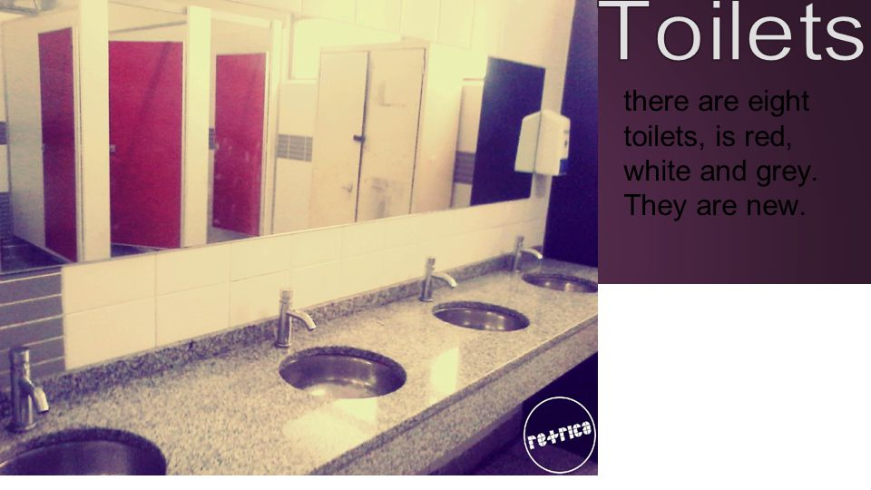 there are eight toilets, is red, white and grey. They are new.