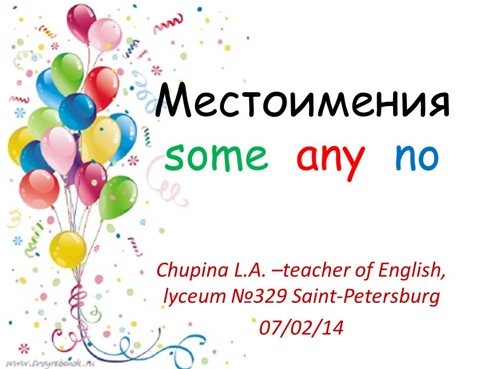 Местоимения some any no Chupina L.A. –teacher of English, lyceum №329 Saint-Petersburg 07/02/14