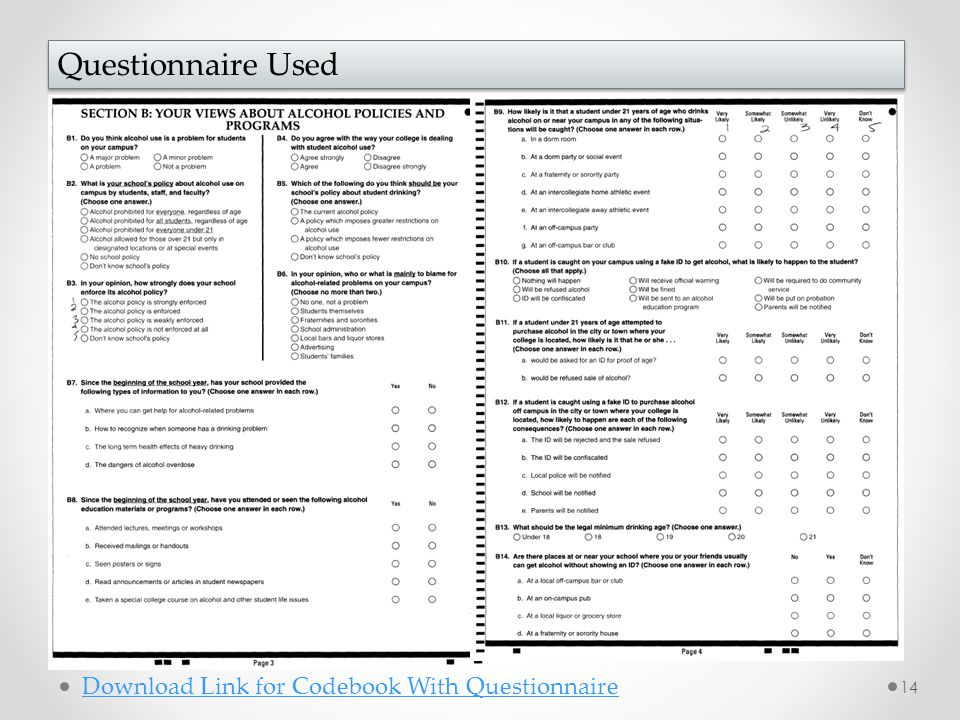 14 Questionnaire Used Download Link for Codebook With Questionnaire