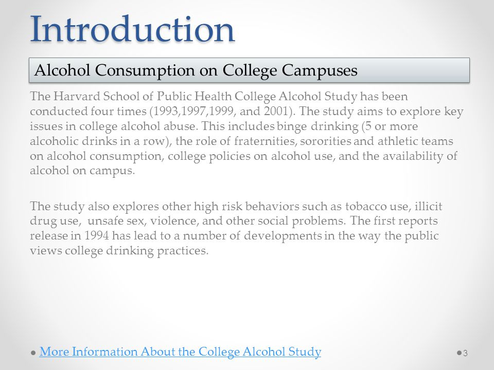 Introduction The Harvard School of Public Health College Alcohol Study has been conducted four times (1993,1997,1999, and 2001).
