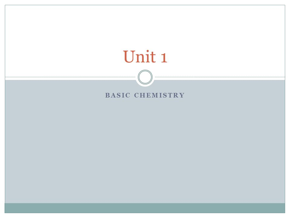 BASIC CHEMISTRY Unit 1