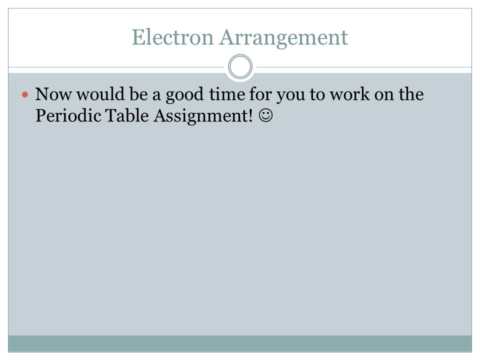 Electron Arrangement Now would be a good time for you to work on the Periodic Table Assignment!