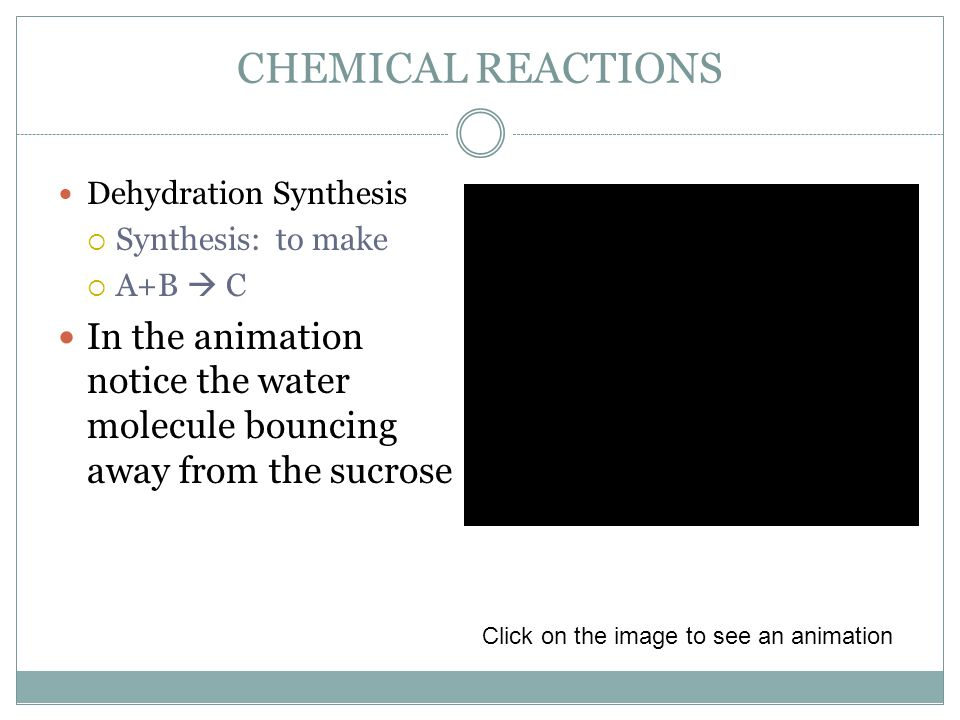 CHEMICAL REACTIONS Dehydration Synthesis  Synthesis: to make  A+B  C In the animation notice the water molecule bouncing away from the sucrose Click on the image to see an animation
