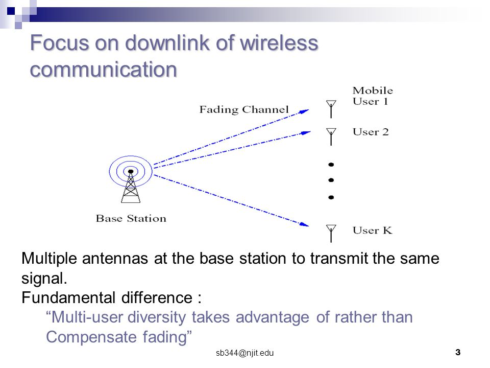 sb344@njit.edu3 Focus on downlink of wireless communication Multiple antennas at the base station to transmit the same signal.
