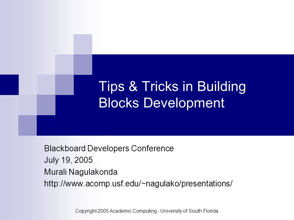 Copyright 2005 Academic Computing - University of South Florida Tips & Tricks in Building Blocks Development Blackboard Developers Conference July 19, 2005 Murali Nagulakonda http://www.acomp.usf.edu/~nagulako/presentations/