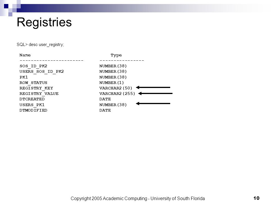 Copyright 2005 Academic Computing - University of South Florida10 Registries SQL> desc user_registry; Name Type --------------------------------------- SOS_ID_PK2 NUMBER(38) USERS_SOS_ID_PK2NUMBER(38) PK1 NUMBER(38) ROW_STATUSNUMBER(1) REGISTRY_KEY VARCHAR2(50) REGISTRY_VALUE VARCHAR2(255) DTCREATEDDATE USERS_PK1 NUMBER(38) DTMODIFIEDDATE