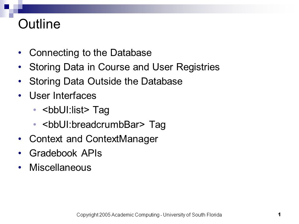 Copyright 2005 Academic Computing - University of South Florida1 Outline Connecting to the Database Storing Data in Course and User Registries Storing Data Outside the Database User Interfaces Tag Context and ContextManager Gradebook APIs Miscellaneous
