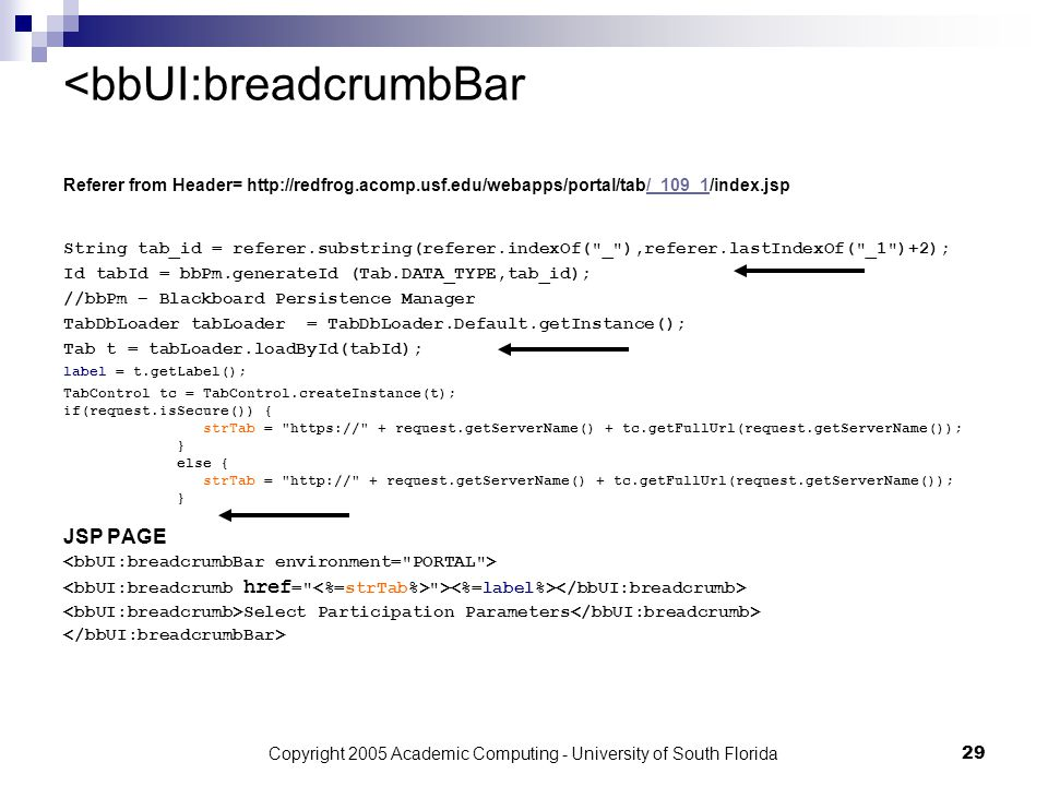Copyright 2005 Academic Computing - University of South Florida29 <bbUI:breadcrumbBar String tab_id = referer.substring(referer.indexOf( _ ),referer.lastIndexOf( _1 )+2); Id tabId = bbPm.generateId (Tab.DATA_TYPE,tab_id); //bbPm – Blackboard Persistence Manager TabDbLoader tabLoader = TabDbLoader.Default.getInstance(); Tab t = tabLoader.loadById(tabId); label = t.getLabel(); TabControl tc = TabControl.createInstance(t); if(request.isSecure()) { strTab = https:// + request.getServerName() + tc.getFullUrl(request.getServerName()); } else { strTab = http:// + request.getServerName() + tc.getFullUrl(request.getServerName()); } JSP PAGE > Select Participation Parameters Referer from Header= http://redfrog.acomp.usf.edu/webapps/portal/tab/_109_1/index.jsp/_109_1