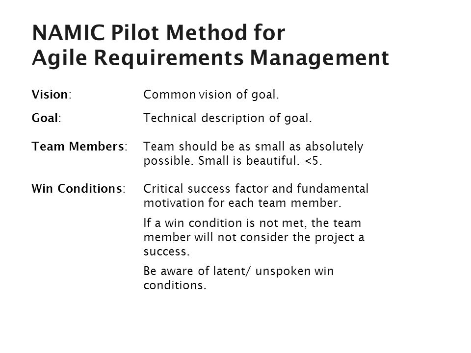 NAMIC Pilot Method for Agile Requirements Management Vision: Common vision of goal.