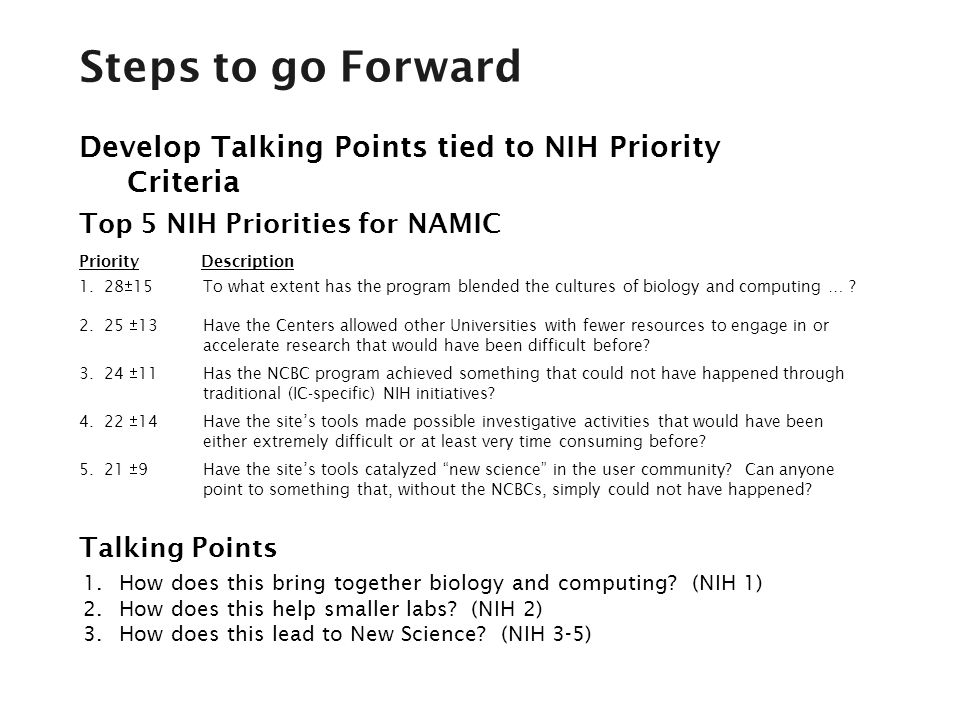 Develop Talking Points tied to NIH Priority Criteria 1.