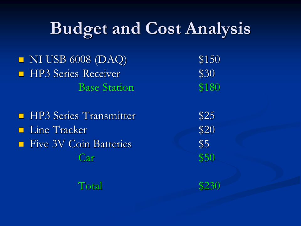 Budget and Cost Analysis NI USB 6008 (DAQ)$150 NI USB 6008 (DAQ)$150 HP3 Series Receiver $30 HP3 Series Receiver $30 Base Station$180 HP3 Series Transmitter $25 HP3 Series Transmitter $25 Line Tracker $20 Line Tracker $20 Five 3V Coin Batteries$5 Five 3V Coin Batteries$5 Car$50 Total$230