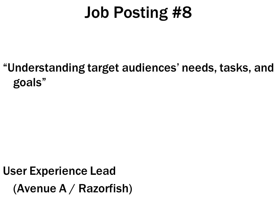 Job Posting #8 Understanding target audiences' needs, tasks, and goals User Experience Lead (Avenue A / Razorfish)