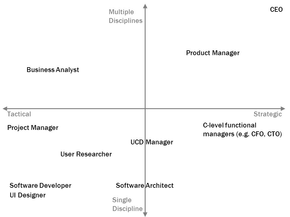 StrategicTactical Single Discipline Multiple Disciplines Product Manager CEO C-level functional managers (e.g.