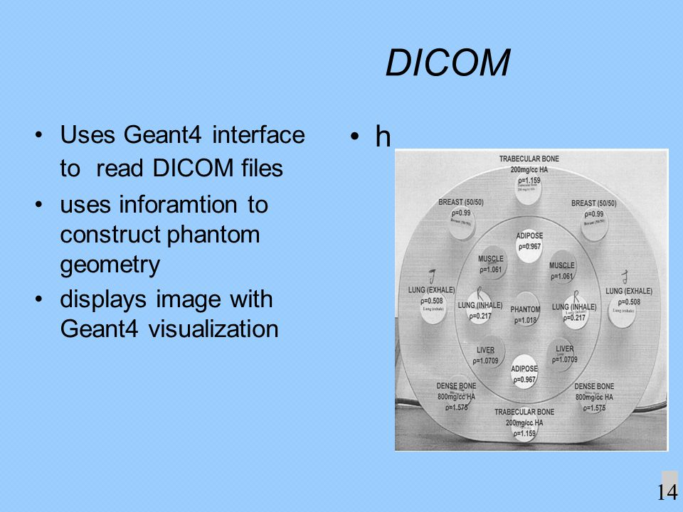 DICOM Uses Geant4 interface to read DICOM files uses inforamtion to construct phantom geometry displays image with Geant4 visualization h 14