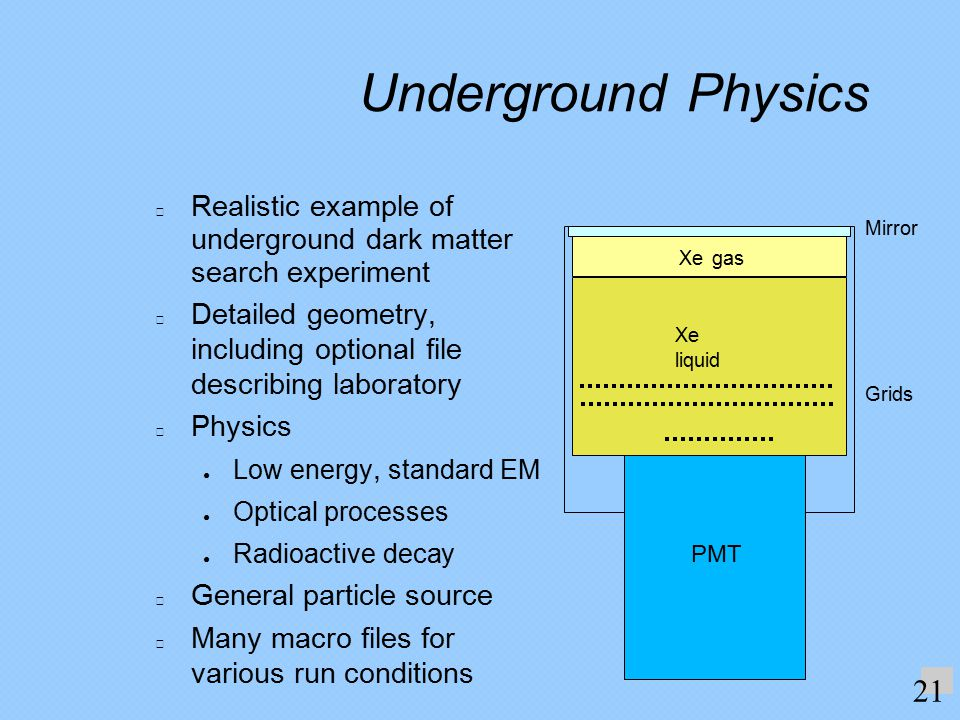 Underground Physics Realistic example of underground dark matter search experiment Detailed geometry, including optional file describing laboratory Physics ● Low energy, standard EM ● Optical processes ● Radioactive decay General particle source Many macro files for various run conditions.
