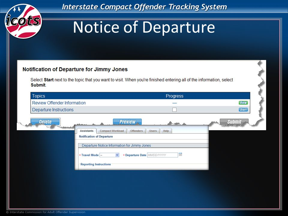 Notice of Departure