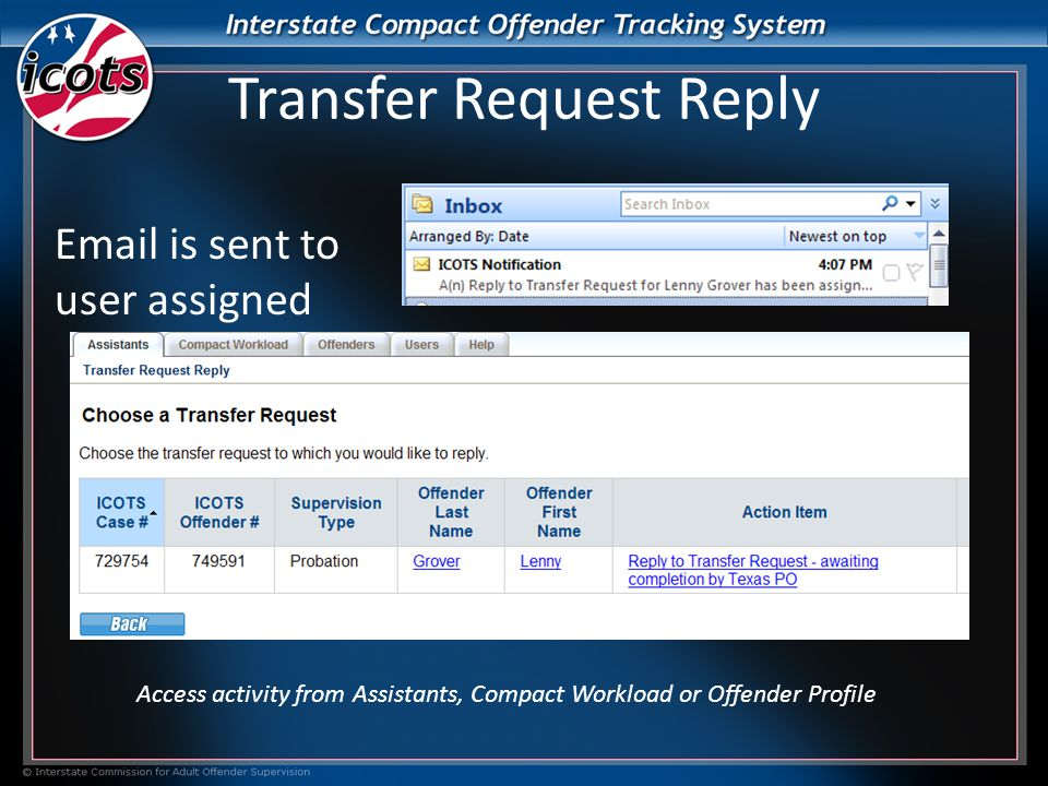 Transfer Request Reply Access activity from Assistants, Compact Workload or Offender Profile  is sent to user assigned