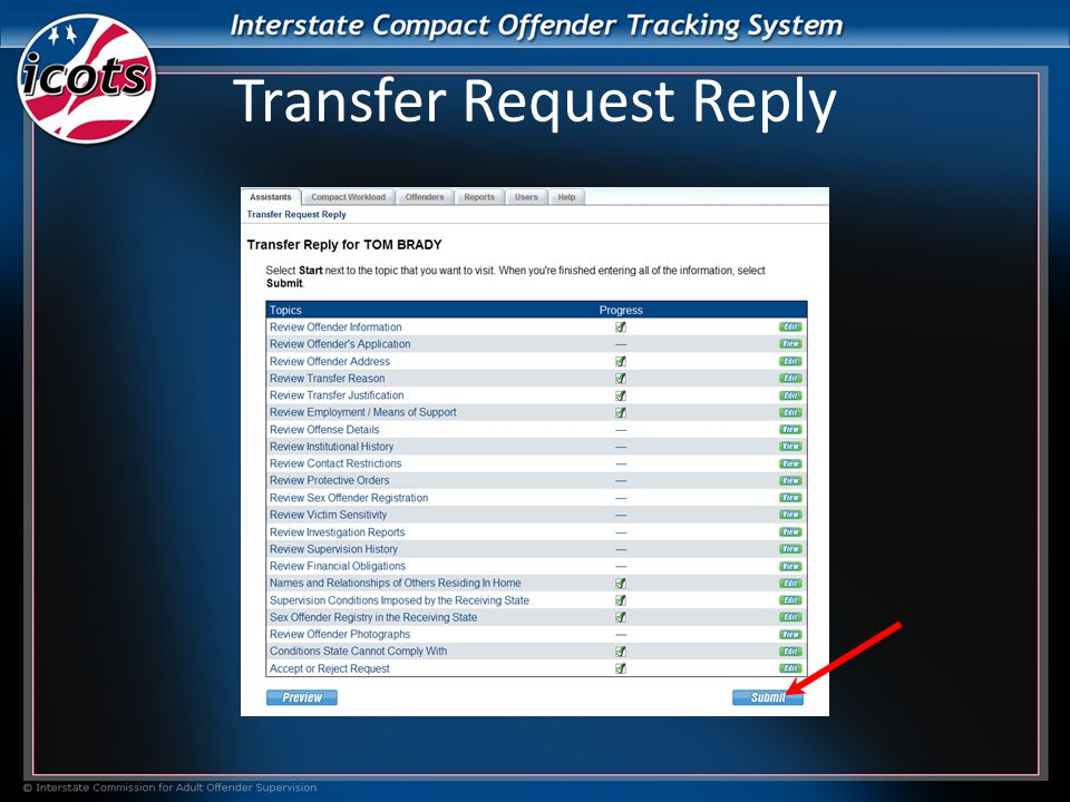 Transfer Request Reply