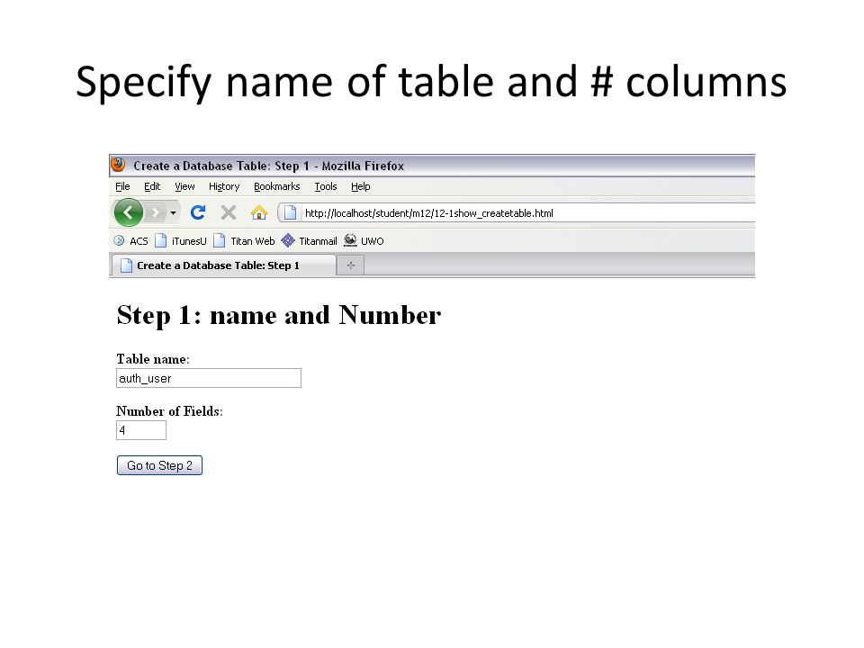 Specify name of table and # columns