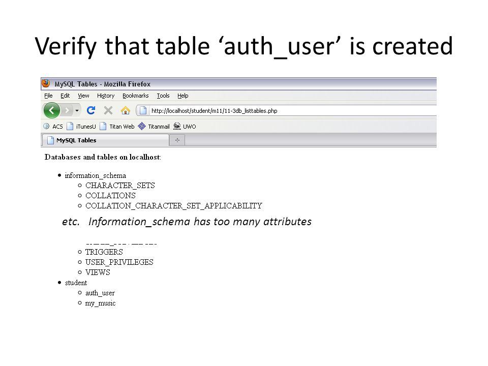Verify that table 'auth_user' is created etc. Information_schema has too many attributes