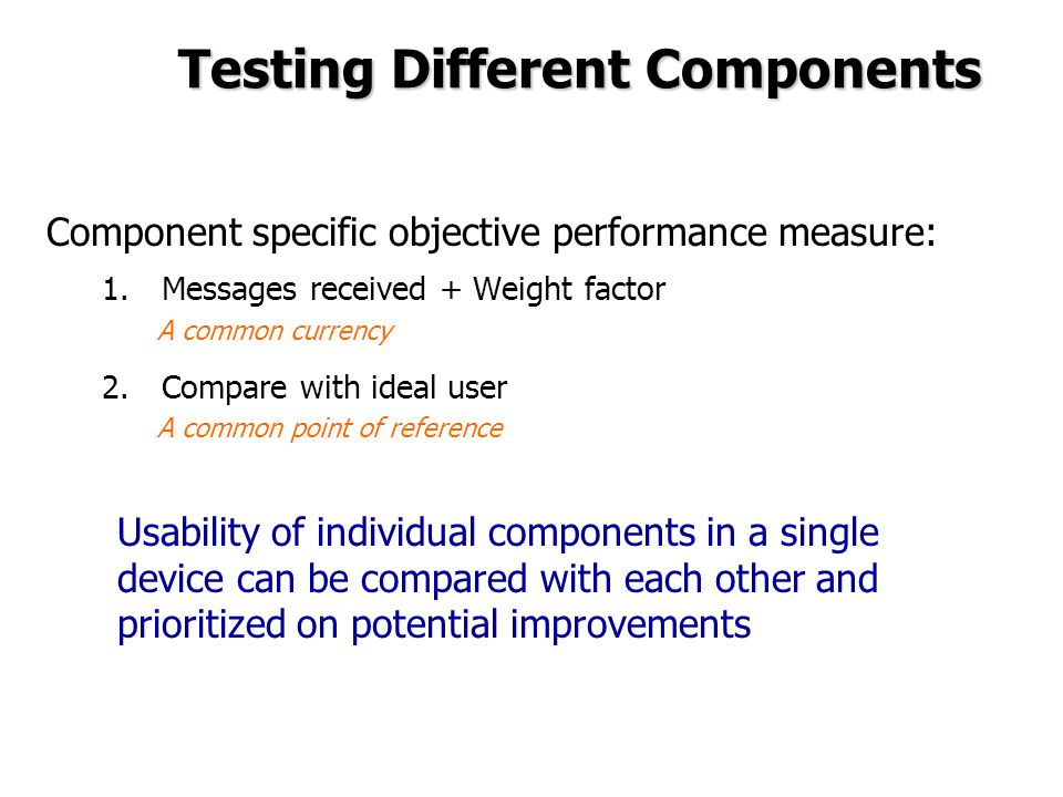 Testing Different Components Component specific objective performance measure: 1.Messages received + Weight factor A common currency 2.Compare with ideal user A common point of reference Usability of individual components in a single device can be compared with each other and prioritized on potential improvements