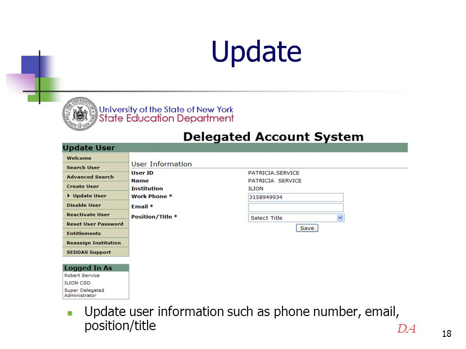 18 Update Update user information such as phone number, email, position/title DA