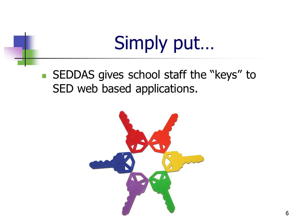 6 Simply put… SEDDAS gives school staff the keys to SED web based applications.
