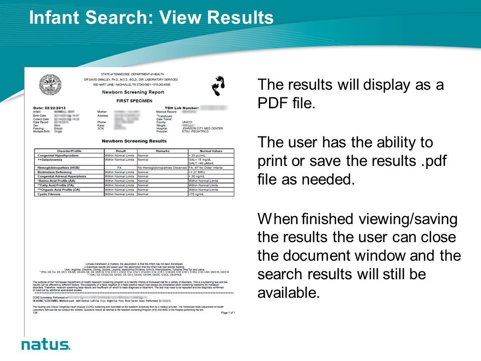 Infant Search: View Results The results will display as a PDF file.