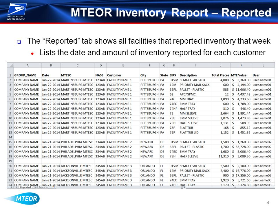4 MTEOR Inventory Report – Reported  The Reported tab shows all facilities that reported inventory that week ● Lists the date and amount of inventory reported for each customer