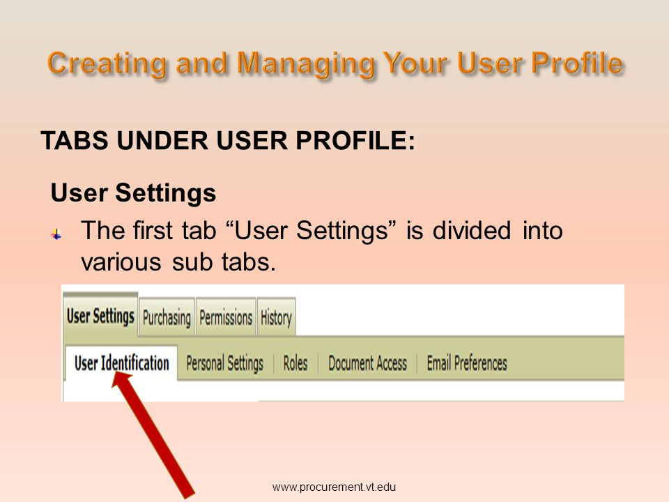 TABS UNDER USER PROFILE: User Settings The first tab User Settings is divided into various sub tabs.