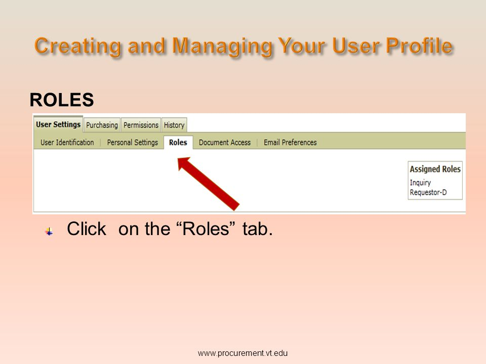 ROLES Click on the Roles tab.