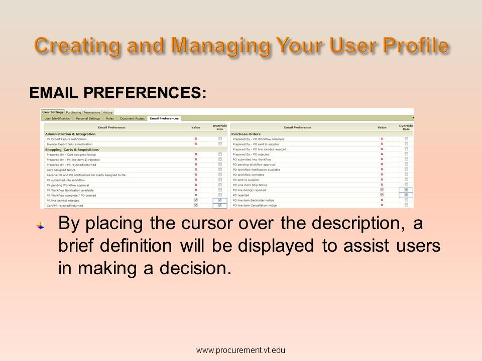 PREFERENCES: By placing the cursor over the description, a brief definition will be displayed to assist users in making a decision.