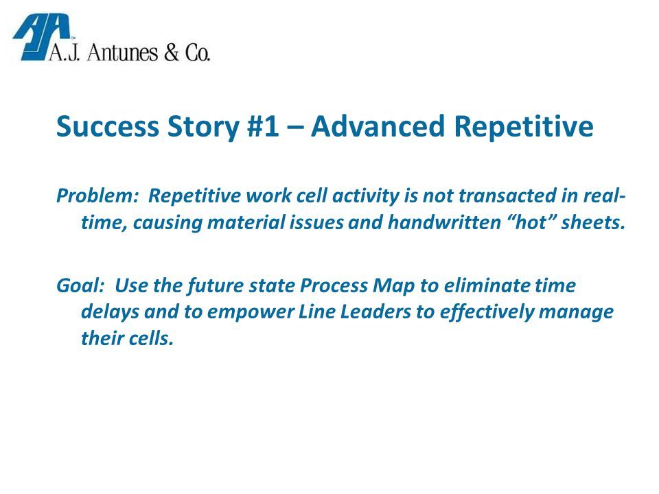 Success Story #1 – Advanced Repetitive Problem: Repetitive work cell activity is not transacted in real- time, causing material issues and handwritten hot sheets.