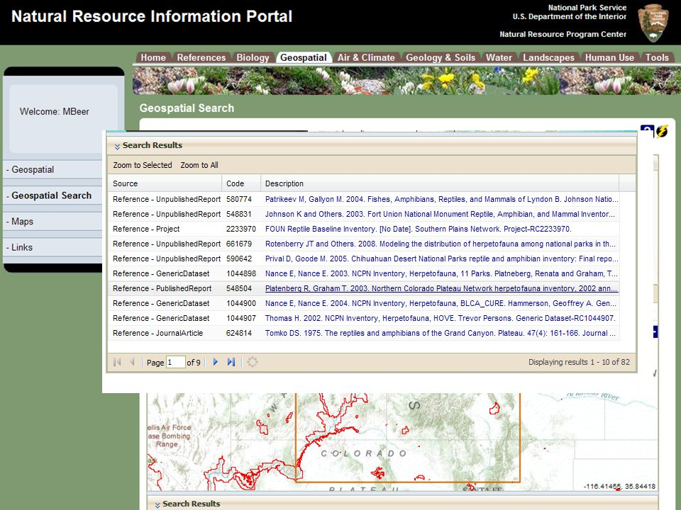 Natural Resource Program Center Inventory & Monitoring Program Enter search term and draw search box for area of interest