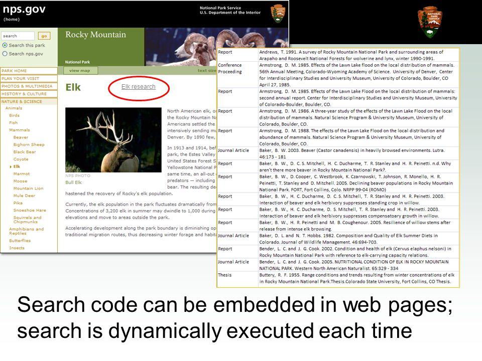 Natural Resource Program Center Inventory & Monitoring Program Any NPS Web page can automatically be updated using REST Elk research Search code can be embedded in web pages; search is dynamically executed each time