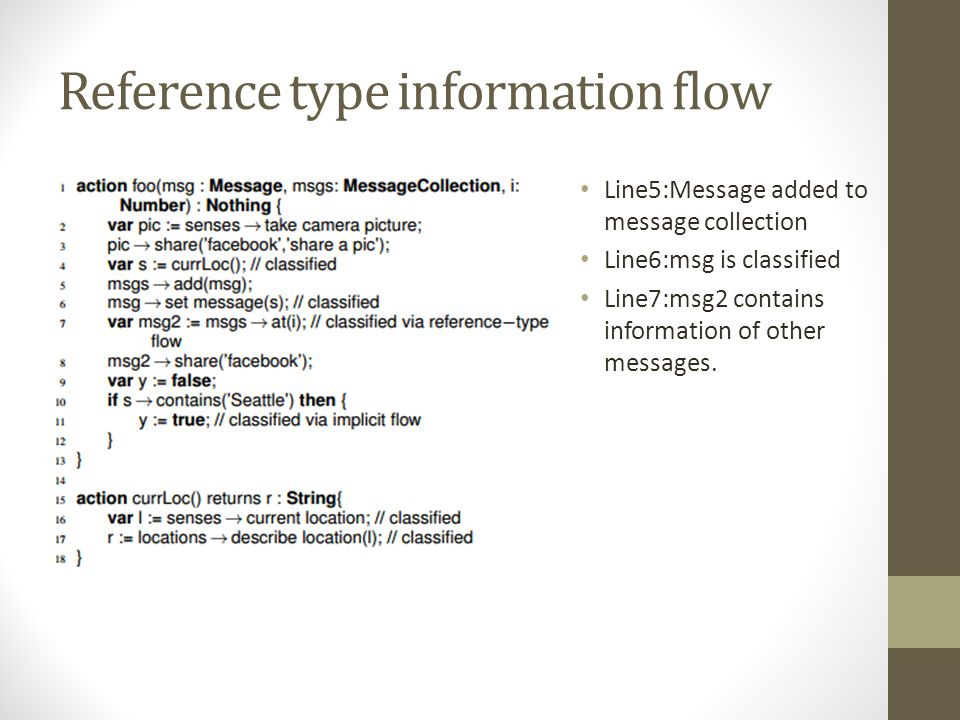 Reference type information flow Line5:Message added to message collection Line6:msg is classified Line7:msg2 contains information of other messages.