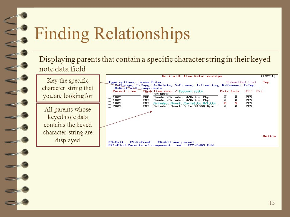 12 Finding Relationships Displaying all parents of a specific relationship type To display a list of all relationships of a single type, key the desired relationship type Only relationships of the type keyed will then be displayed If the parent note data is keyed in the parent record, it is displayed in a different color