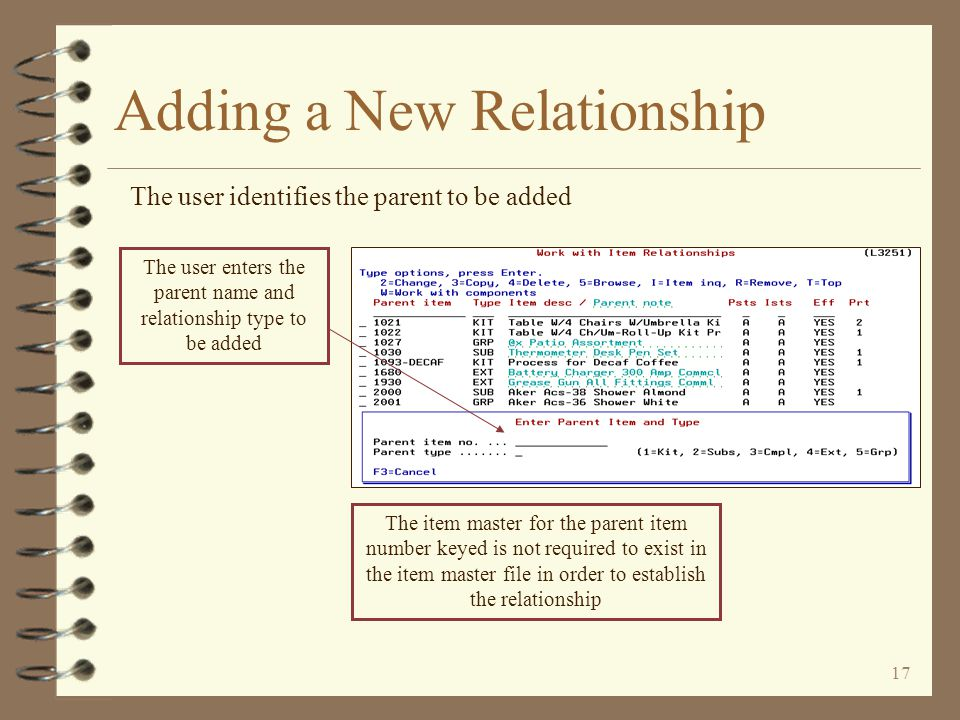 16 Adding a New Relationship 4 When adding a new relationship, a window is displayed requesting the parent name and parent type 4 Parent definition data is then entered (more entry fields available for some relationship types than in DMAS maintenance) 4 A component list screen is then displayed (initially empty of components when adding a new relationship) 4 Components are then entered