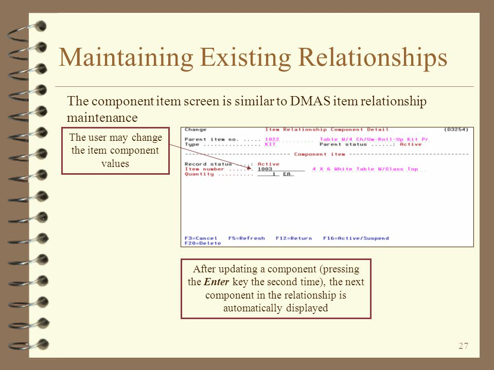 26 Maintaining Existing Relationships The Work with Components option displays the list of components for the specified relationship Option 2 is used to change an existing component Options 6, 7 and 8 are used to insert specific component types prior to the component on which the option is entered Option 4 is used to change an existing component to the deleted status Function key F2=Compress may be used to compress blank special charge and comment description lines out of the above screen