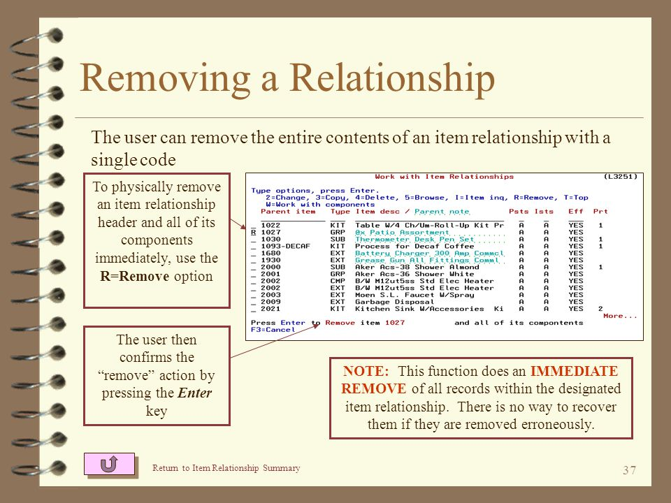 36 Removing a Relationship 4 The contents of an entire item relationship may be physically and immediately removed by using the remove option 4 The remove option may be handy if you do not want to wait for file reorganization to remove a deleted relationship 4 Once removed, an item relationship can not be brought back