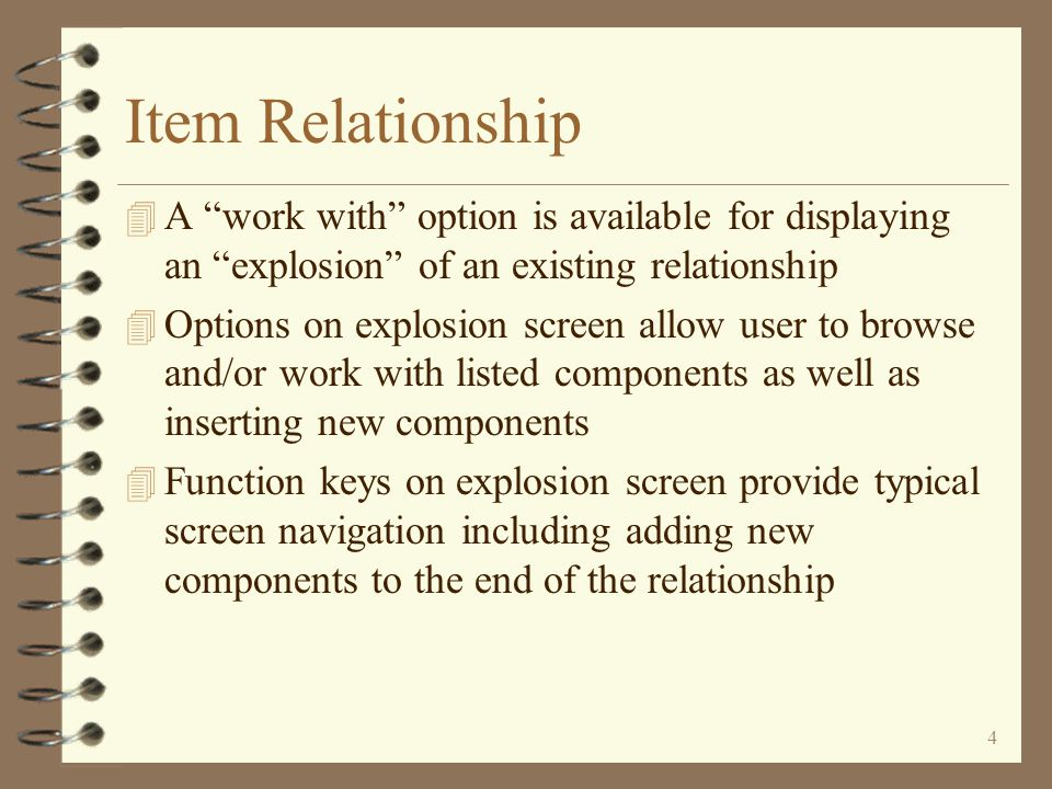 3 Item Relationship 4 Various options available for browsing and/or working with listed relationships 4 Option available for creating a new relationship by copying an existing one, even if the relationship type is different 4 Function keys provided for typical screen navigation including the adding of a new relationship